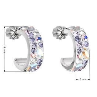 EVOLUTION GROUP CZ Stříbrné náušnice kruhy s krystaly Crystals from Swarovski®, Violet - 31118.3 Violet