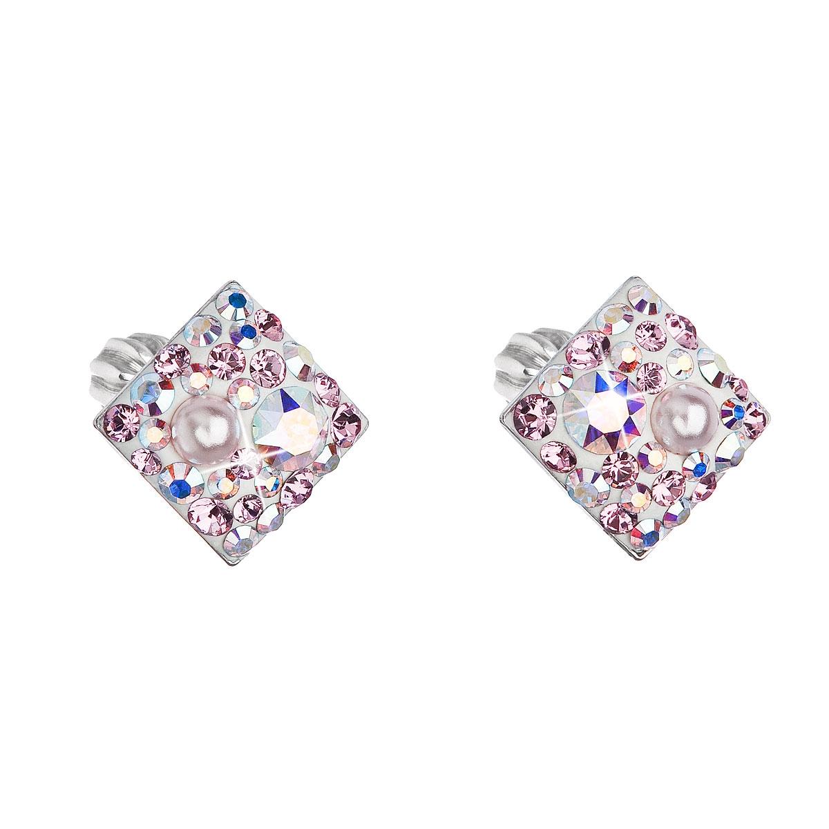 Stříbrné šroubovací náušnice s krystaly Crystals from Swarovski®, Rose AB EG2006-ROAB