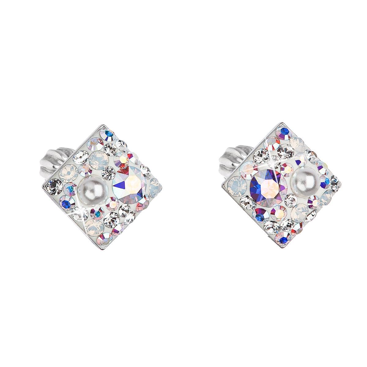 Stříbrné šroubovací náušnice s krystaly Crystals from Swarovski® CRYSTAL AB EG2006-CRAB