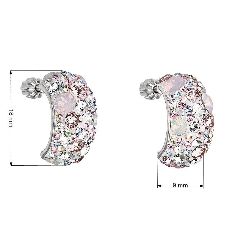 Stříbrné šroubovací náušnice s krystaly Crystals from Swarovski®, Magic Rose EG2002-MR