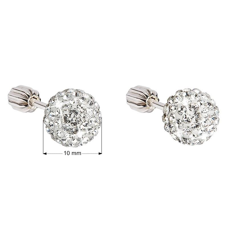 Strieborné náušnice guličky s kryštálmi Swarovski, Crystal