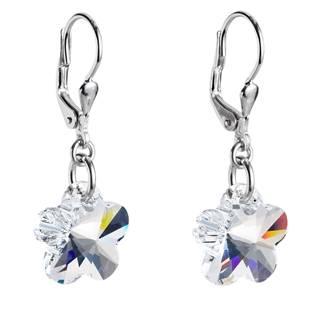 Stříbrné náušnice s kytičkami Crystals from Swarovski®, Crystal