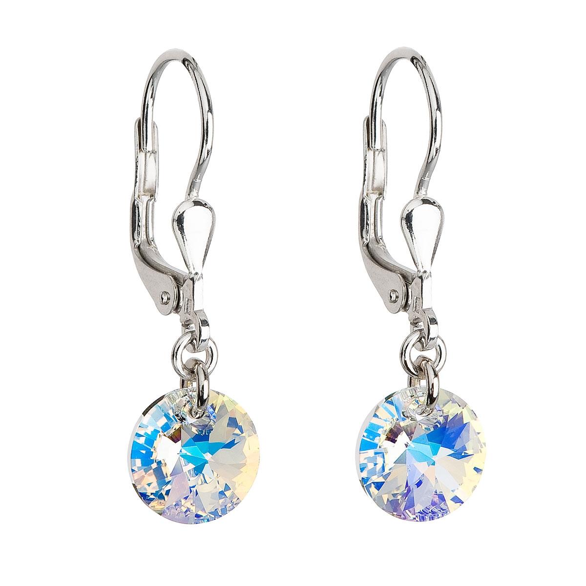 Stříbrné náušnice s krystaly Crystals from Swarovski®, AB