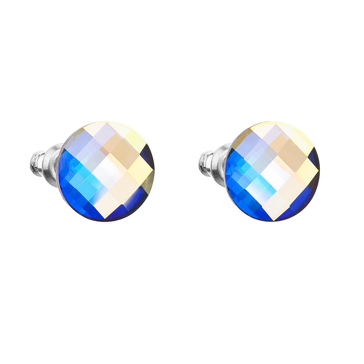 Náušnice bižutéria so Swarovski kryštálmi AB efekt okrúhle