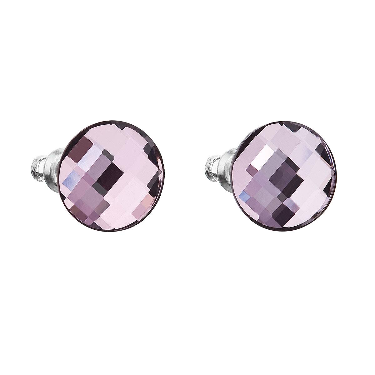 Náušnice bižutéria so Swarovski kryštálmi fialovej okrúhle lilac shadow