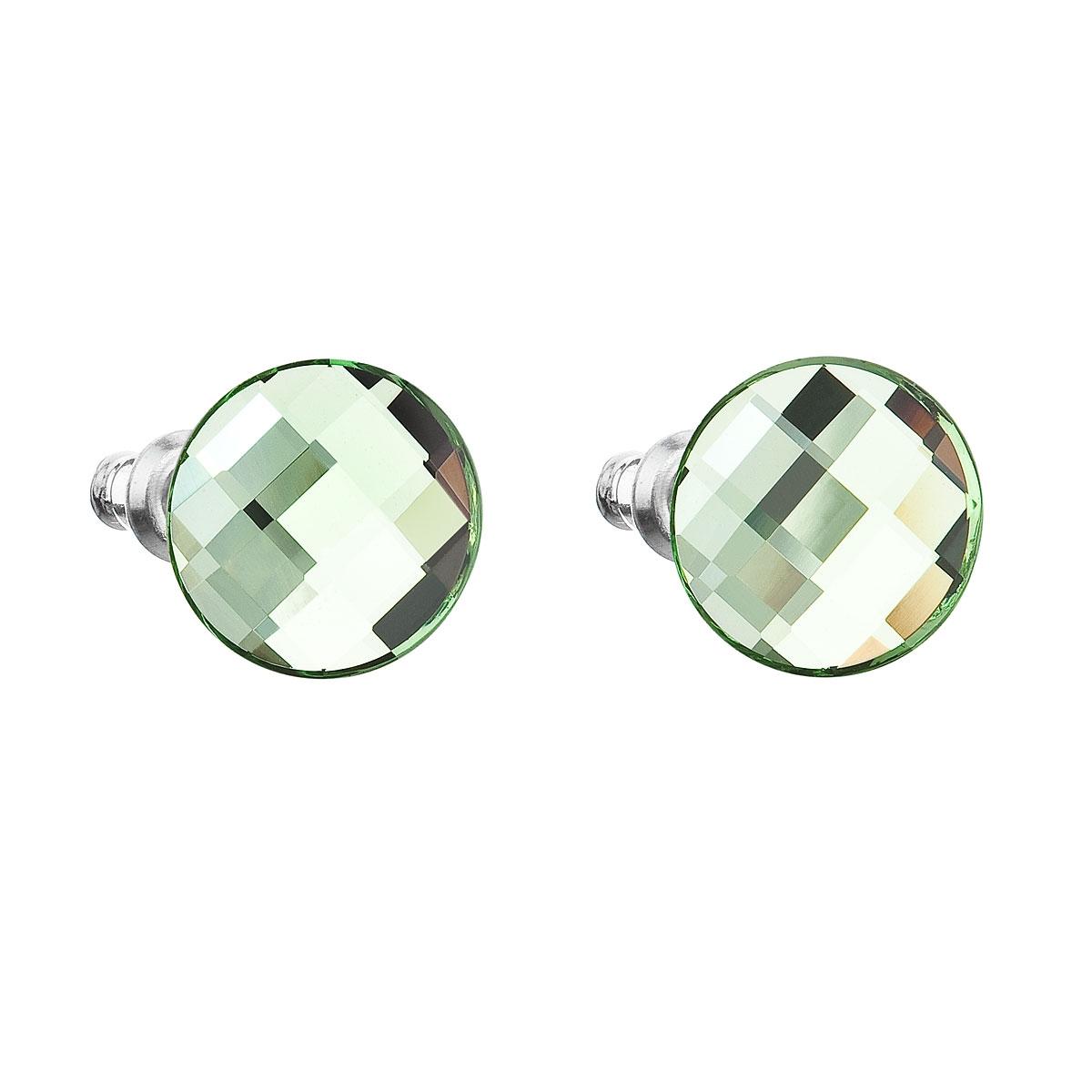 Náušnice bižutéria so Swarovski kryštálmi zelené okrúhle