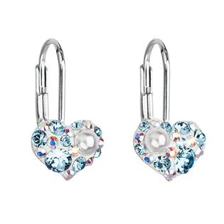 Dívčí stříbrné náušnice srdíčka s krystaly Crystals from Swarovski® AQUAMARINE AB