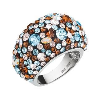 EVOLUTION GROUP CZ Stříbrný prsten s krystaly Crystals from Swarovski®, Aqua - velikost 56 - 35028.3