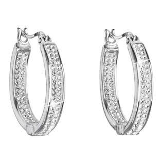 Stříbrné náušnice kruhy s krystaly Crystals from Swarovski® Crystal