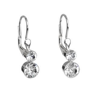 Stříbrné náušnice visací s krystaly Crystals from Swarovski® Crystak