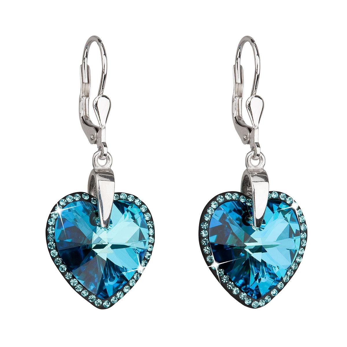 Strieborné náušnice visiace s kryštálmi Swarovski modré srdce b7437f5bb3e