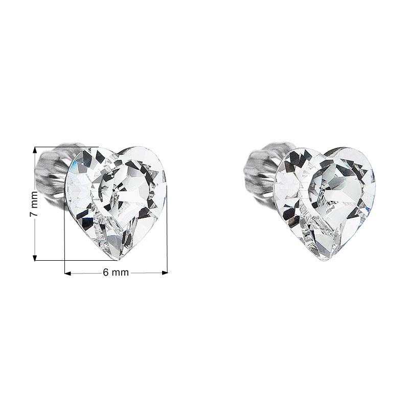 Strieborné náušnice kôstka s kryštálmi Swarovski biele srdce 6ebbed2e201