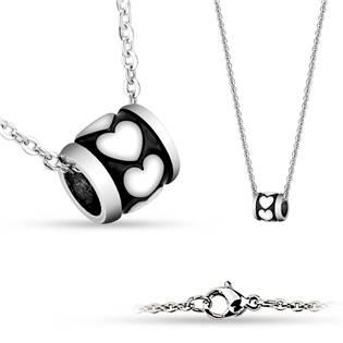 Šperky4U Ocelový řetízek a přívěšek - korálek se srdíčky - OPD0099