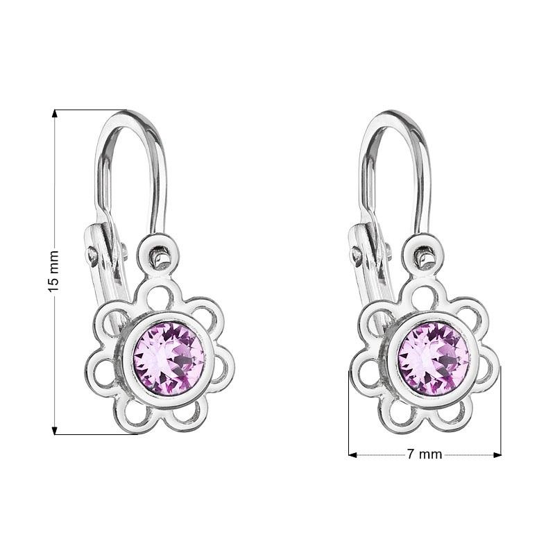 Detské náušnice strieborné náušnice - kvetinky, Crystals from SWAROVSKI®, Violet