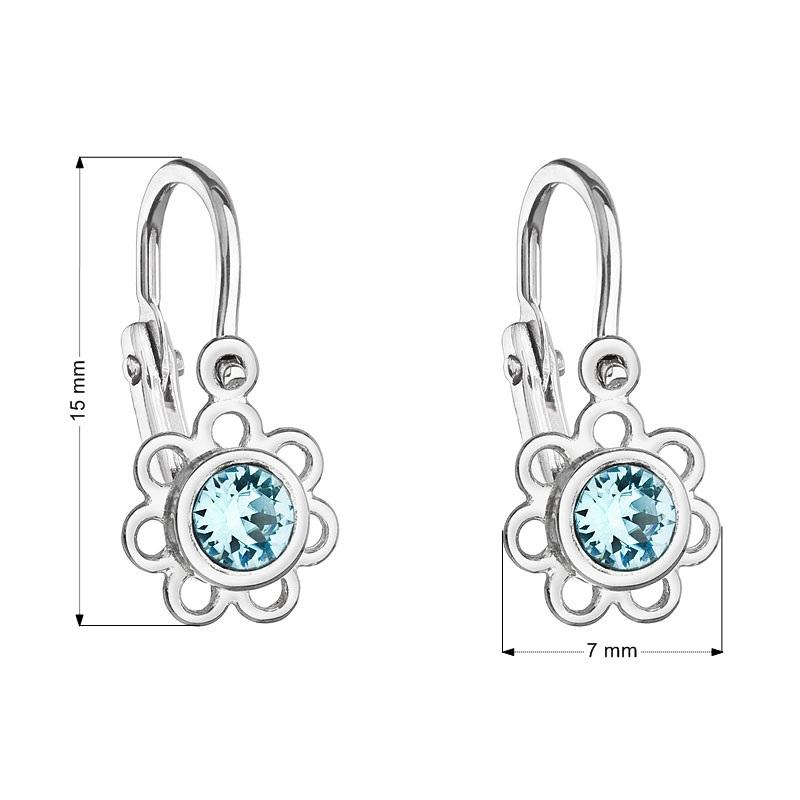 Detské náušnice strieborné náušnice - kvetinky, Crystals from SWAROVSKI®, Aqua