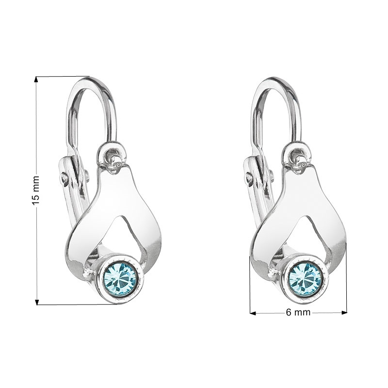 Detské náušnice strieborné náušnice - slzičky, Crystals from SWAROVSKI®, Aqua