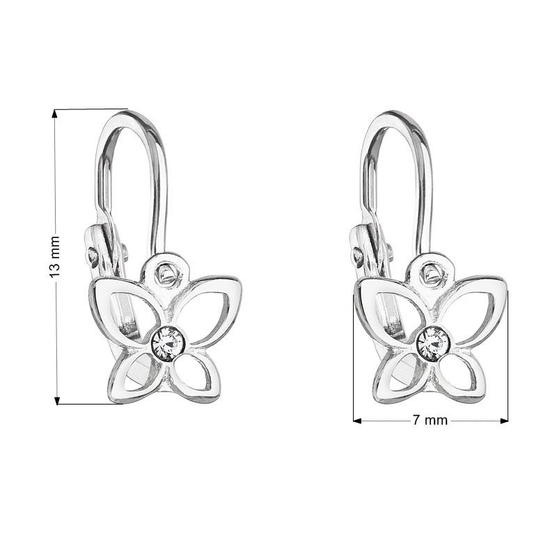 Detské náušnice strieborné náušnice - motýle, Crystals from SWAROVSKI®, Crystal