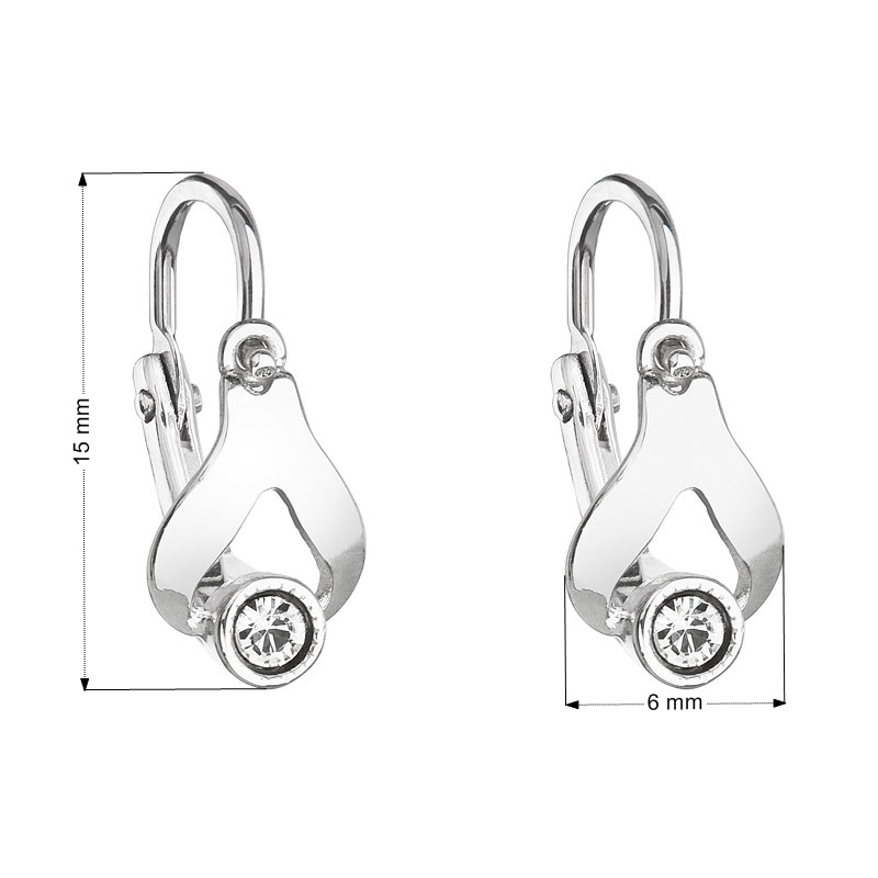 Detské náušnice strieborné náušnice - slzičky, Crystals from SWAROVSKI®, Crystal