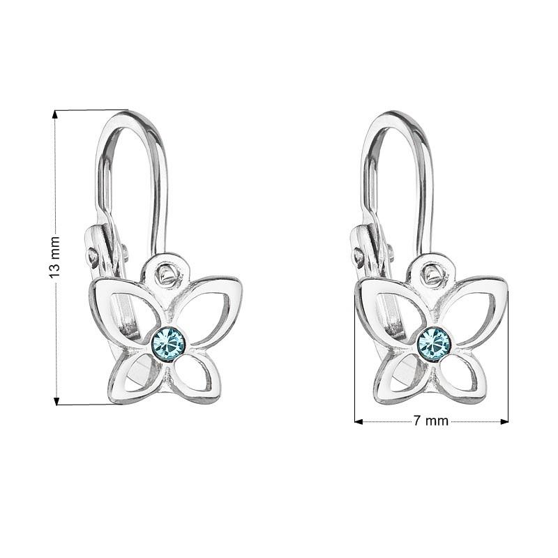 Detské náušnice strieborné náušnice - motýle, Crystals from SWAROVSKI®, Aqua