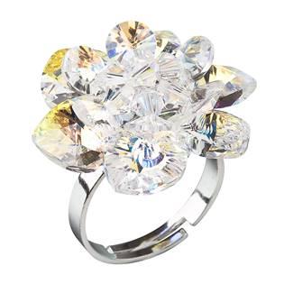 Stříbrný prsten kytička s krystaly Crystals From Swarovski, AB