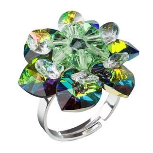Stříbrný prsten kytička s krystaly Crystals From Swarovski, Dark Vitrail