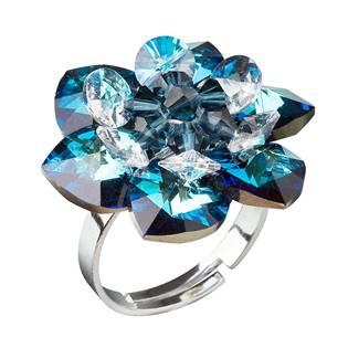 Stříbrný prsten kytička s krystaly Crystals From Swarovski, Blue