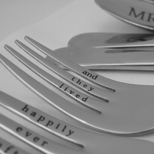Svatební příbor - vidlička s rytinou (1ks)