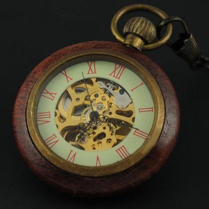 Retro drevené vreckové hodinky - cibule