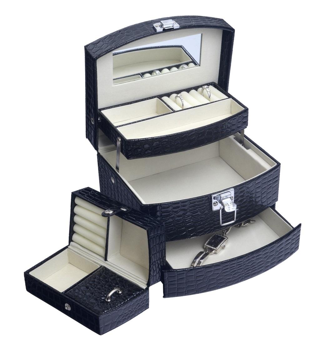 Šperkovnica - čierna koženka