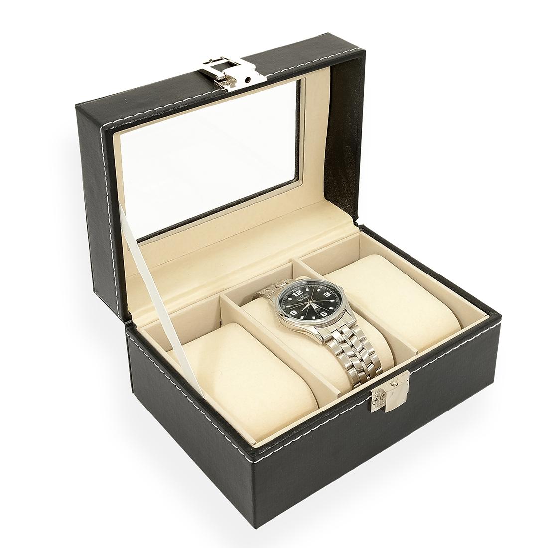 Šperkovnica na ukladaním hodiniek - čierna koženka