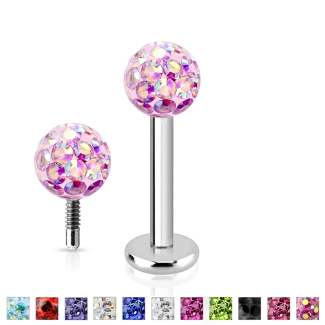 Piercing do brady - Labreta s kryštálmi Crystals from SWAROVSKI®