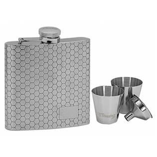 Ocelová kapesní lahev - placatka 180ml + 2 kalíšky 30ml a trychtýřek 97048