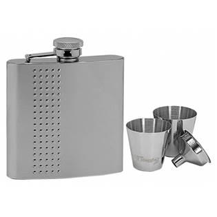 Ocelová kapesní lahev - placatka 180ml + 2 kalíšky 30ml a trychtýřek 97056