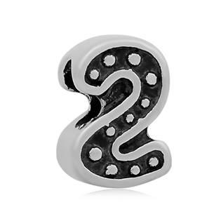 Navlékací ocelový přívěšek korálek - číslice