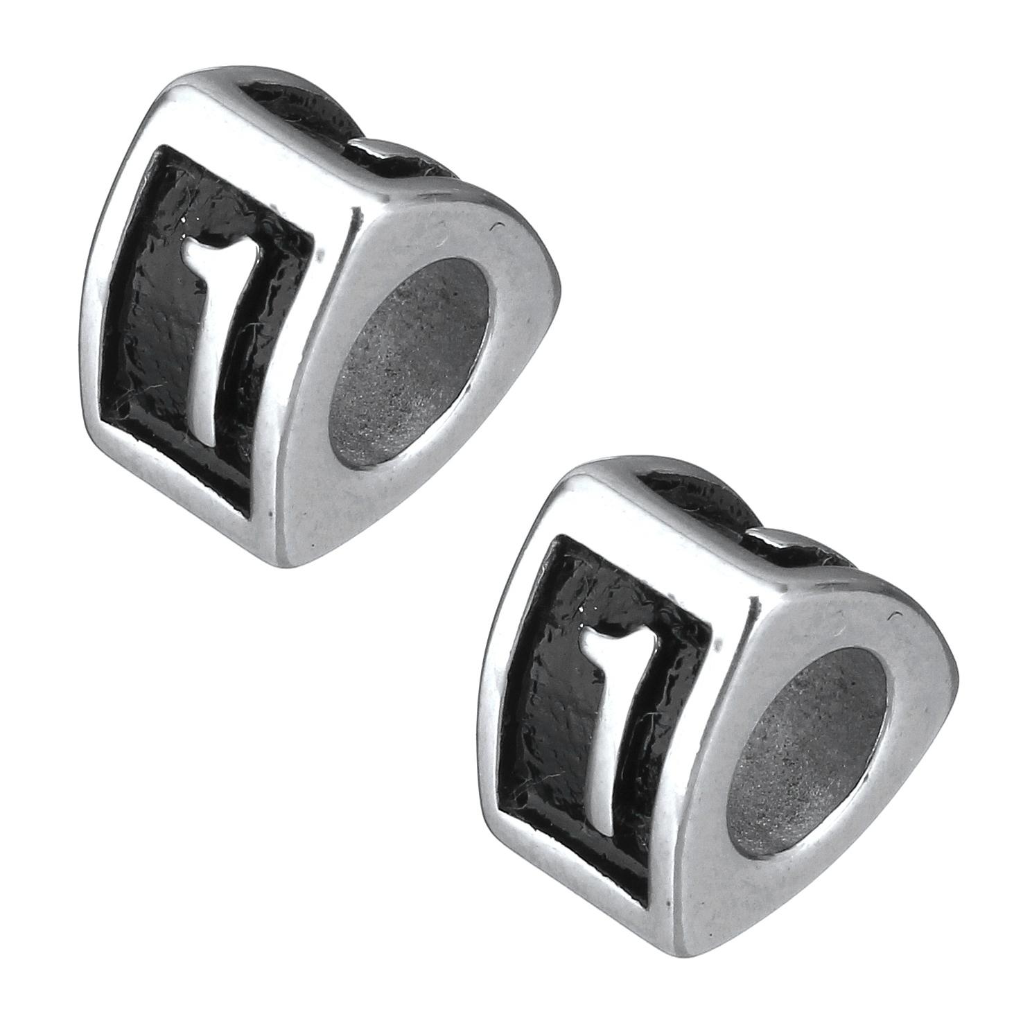 Navlékací ocelový přívěšek korálek - číslovka 1