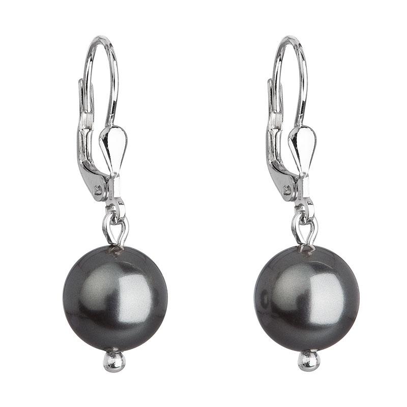 Strieborné náušnice visiace s perlou Swarovski šedé okrúhle f67e6ab10af