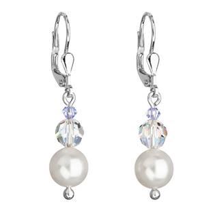Stříbrné náušnice visací s perlou Swarovskibílé kulaté