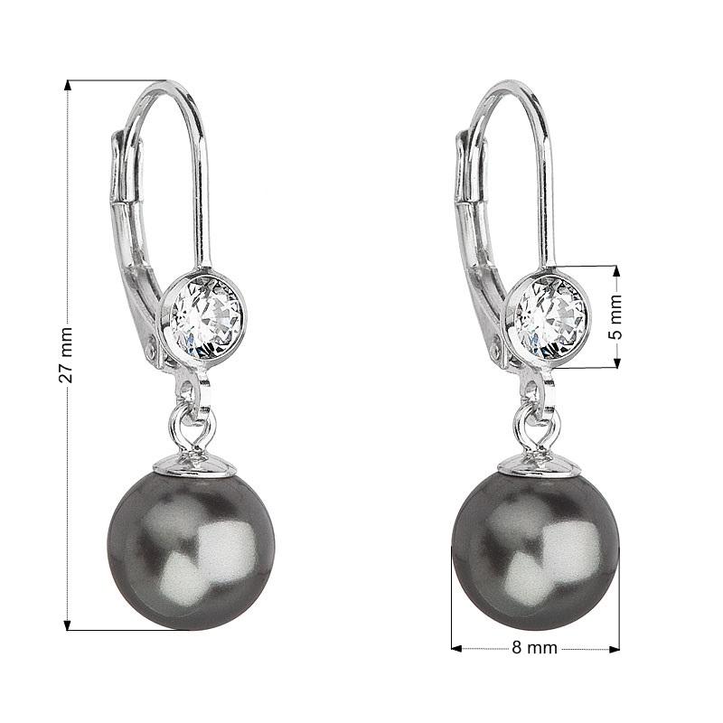 Stříbrné náušnice s perlou a kameny Crystals from Swarovski® Grey EG2074-GR