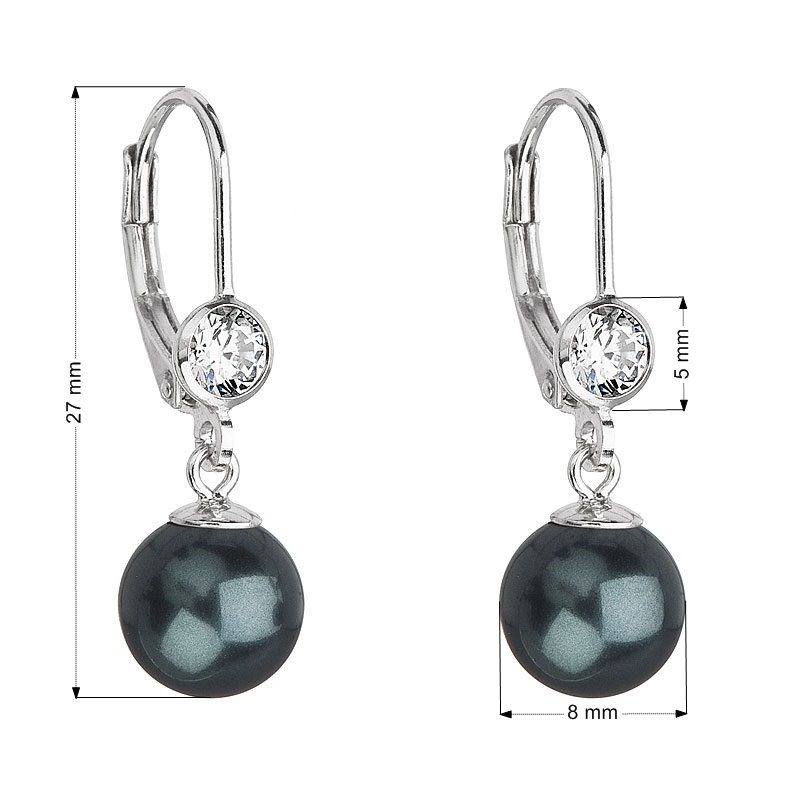 Stříbrné náušnice s perlou a kameny Crystals from Swarovski® Dark Green EG2074-DGR