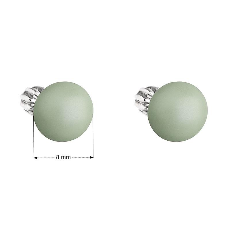 Strieborné náušnice pecka s perlou Swarovski zelené okrúhle pastel green ef4978a0453