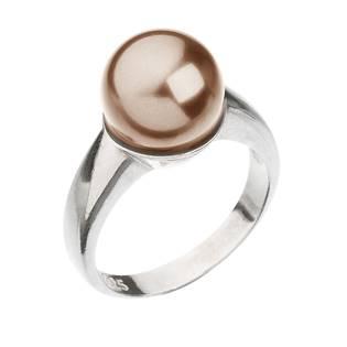Stříbrný prsten s perlou hnědý