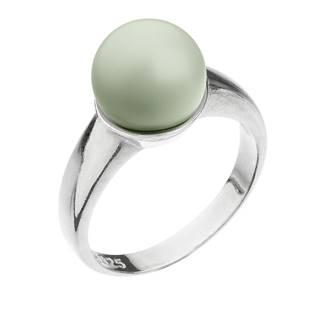Stříbrný prsten s perlou pastelově zelený pastel green