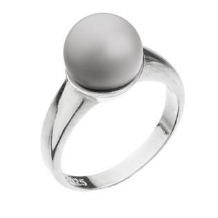 Stříbrný prsten s perlou pastelově šedý