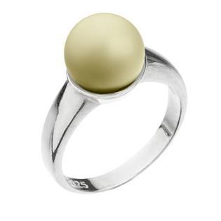 Stříbrný prsten s perlou pastelově žlutý