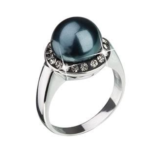 Stříbrný prsten s krystaly Crystals From Swarovski® a tmavou perlou