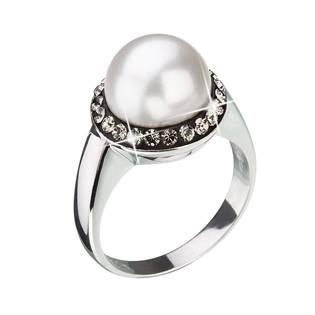 Stříbrný prsten s krytsaly Crystals from Swarovski® a bílou perlou