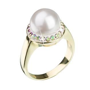 Stříbrný prsten s krytsaly Crystals from Swarovski® a bílou perlou, Luminous Green