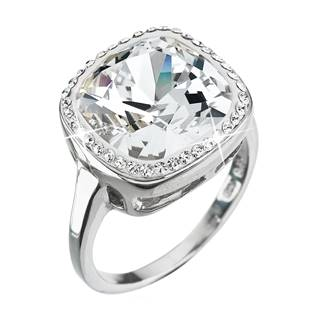 Stříbrný hranatý prsten Crystals from Swarovski®, Crystal