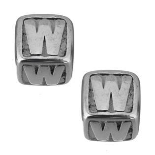 """Navlékací ocelový přívěšek korálek - písmeno """"W"""""""