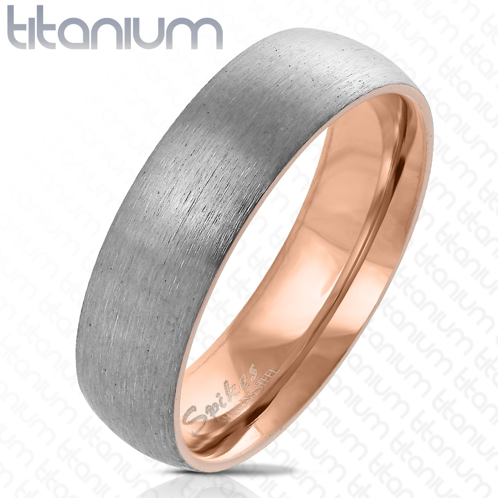 Pozlátený matný prsteň titán, šírka 6 mm, veľ. 52